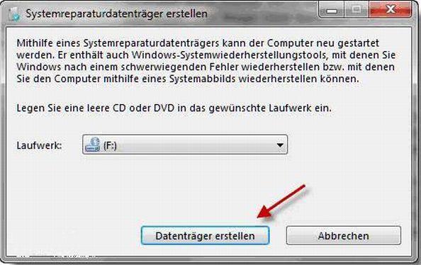 Notfall-CD von Windows7 erstellen