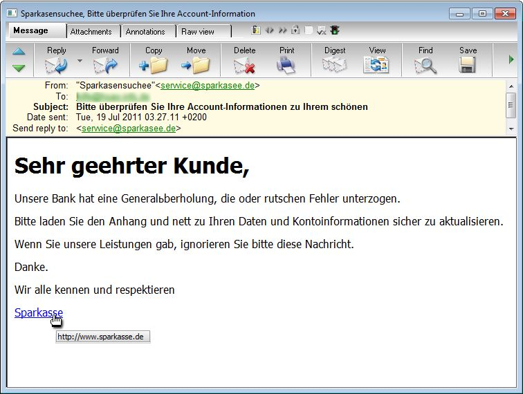 Phishing-Attacke auf Sparkassen-Kunden