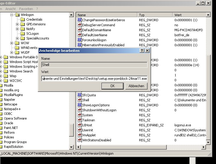 Abb.1: Falscher Eintrag, verursacht durch die Malware BKA-Trojaner