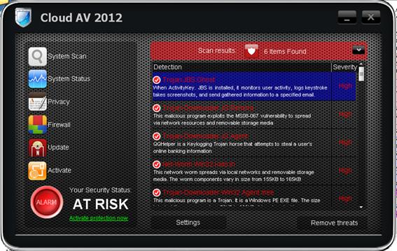 Cloud Av 2012 Fake Anti-Viren Programm (Quelle: pandanews.de