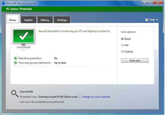 Microsoft Security Essentials 4 public Beta
