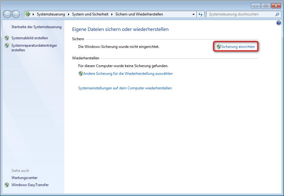 Datensicherung mit Bordmitteln (Windows 7)