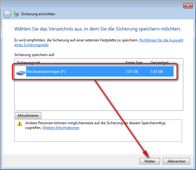 Datensicherung mit Bordmitteln (Windows 7)
