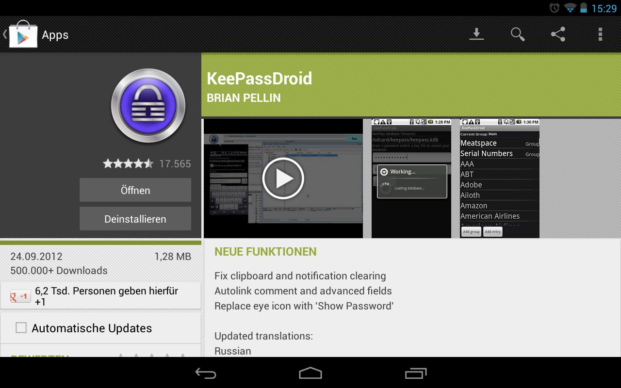 KeePassDroid auf Google play.