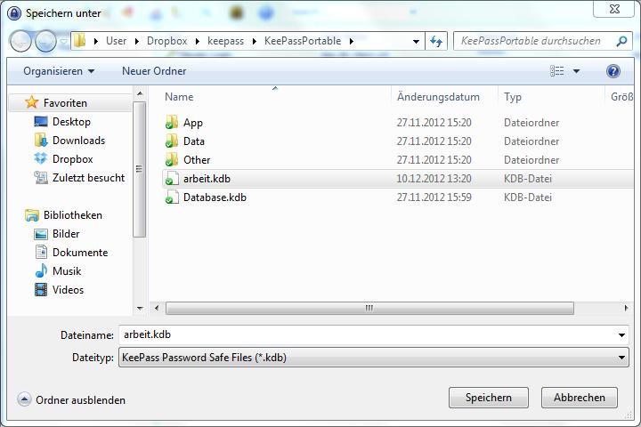 KeePass Datenbank im DropBox Ordner