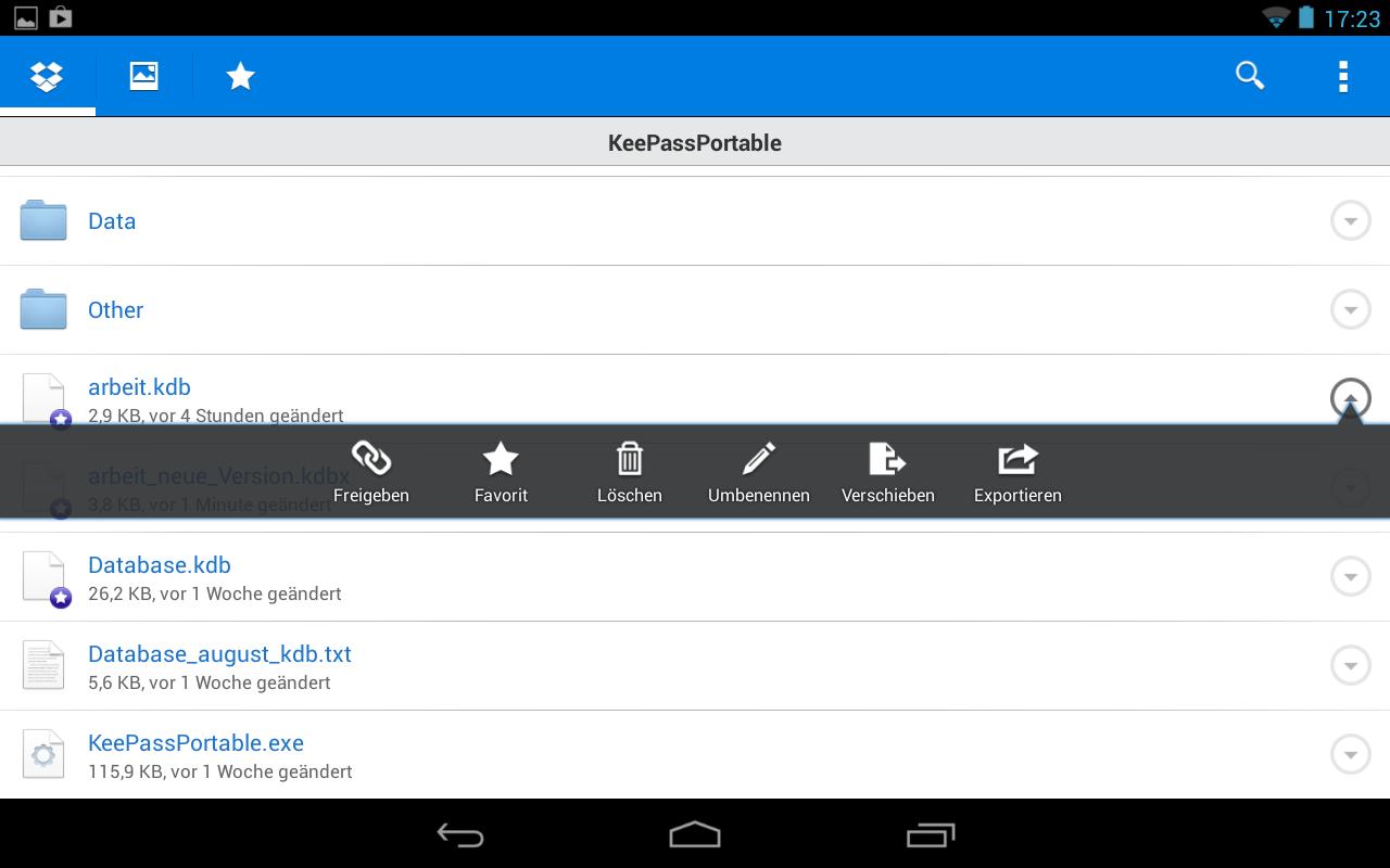 Die KeePass Datenbank wird als Favorit in Dropbox markiert