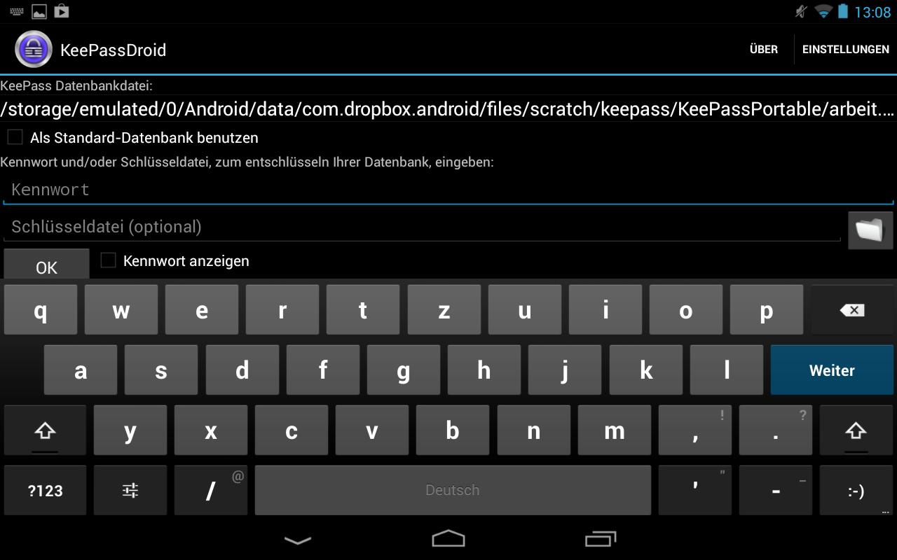 Pfad zu der in der Dropbox gespeicherten Datenbank.