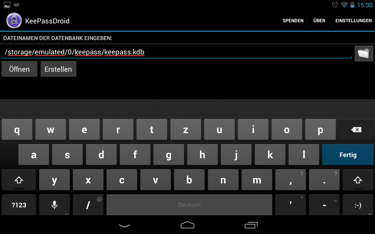DIe zu bearbeitende Datenbak wird in KeePassdroid ausgewählt.