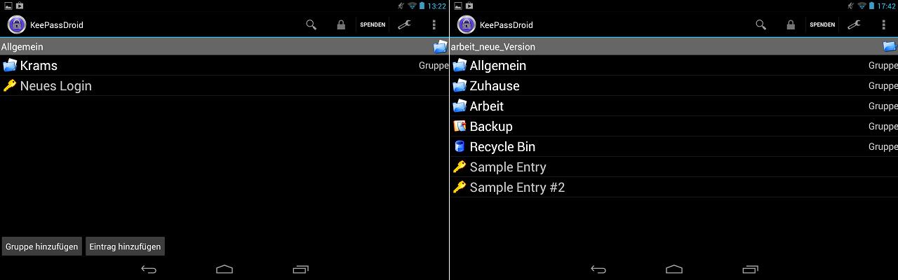 Geöffnete PAsswortdatgenbank : links KeePass1.x , rechts eine Datenbank von KeePass2.x  - nur auf der linken ist ein Bearbeiten unter Android möglich