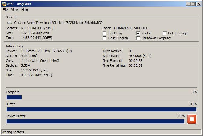 Die ISO Datei wird auf CD geschrieben