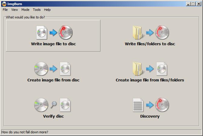 Write Image to Disk , um eine ISO Datei auf CD zu schreiben