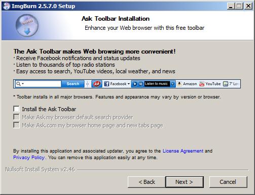 Die ASK Toolbar sollte beim installieren abgewählt werden.
