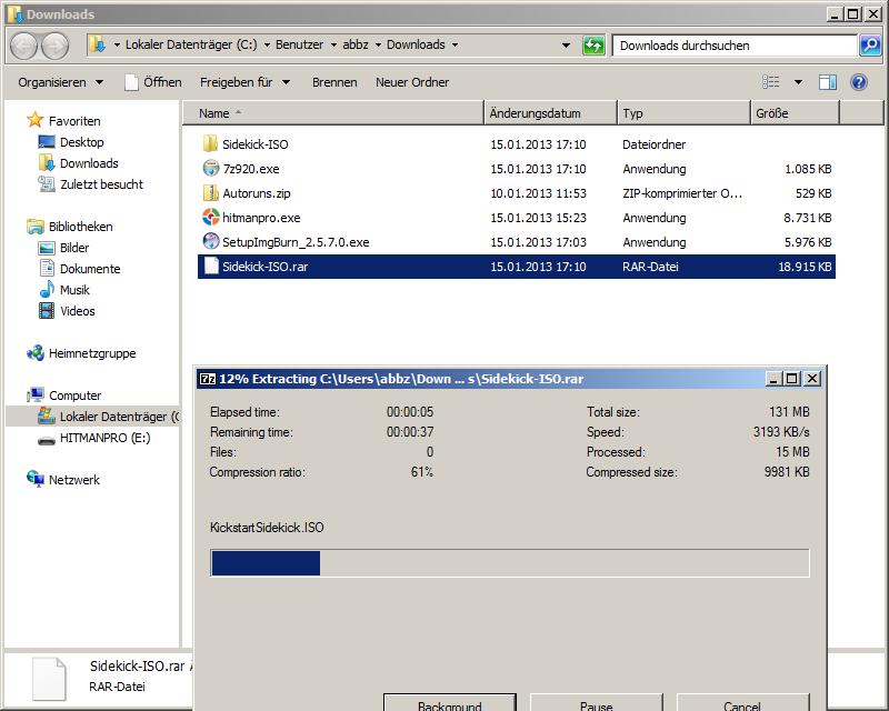 Entpacken der Sidekick.rar Datei mit dem Freeware Programm 7-zip