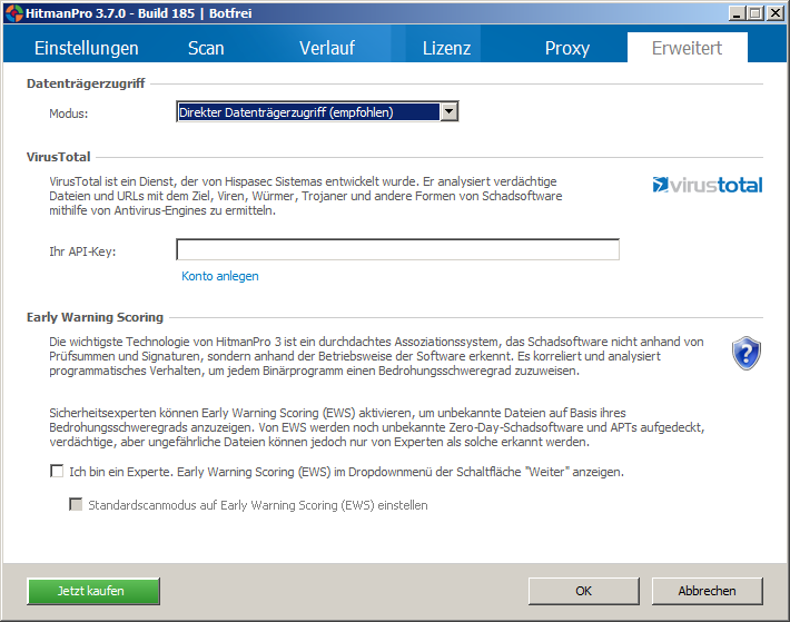 Einbindung eines VirustTotal ontos und Aktivierung des Early Warning Scorings