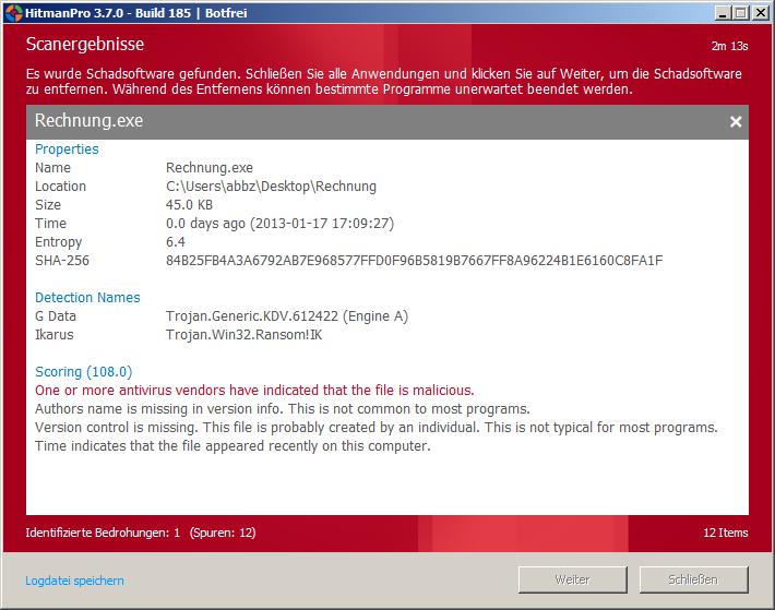 Detaillierte Auskunft über die als Schadsoftware eingestufte Datei