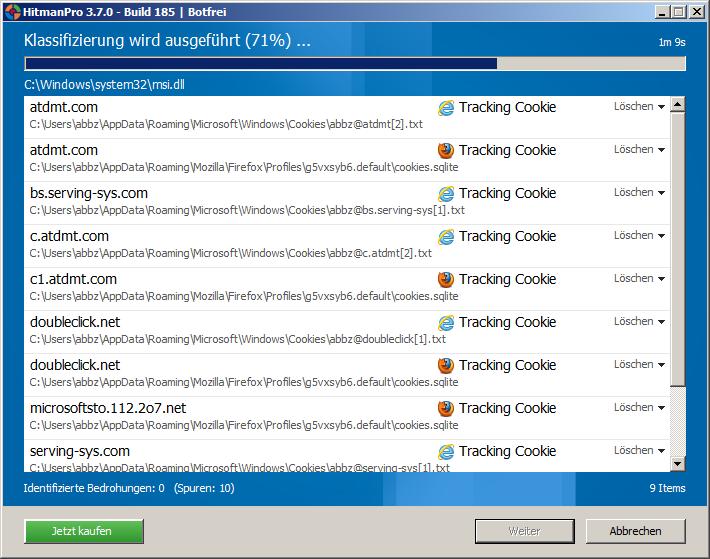 Die gescannten Dateien werden anhand ihres Bedrohungspotentials bewertet.