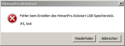 Fehlermeldung #5,lock - Ein anderes Programm verhindert den Zugriff von HitmanPro auf den USB Stick