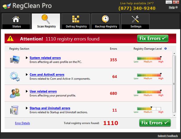 Hier hat Regclean Pro angeblich über 1000 Fehler erkannt