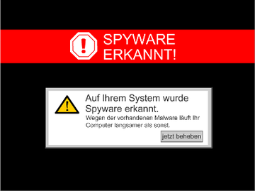 Werbe -Popup mit Scareware