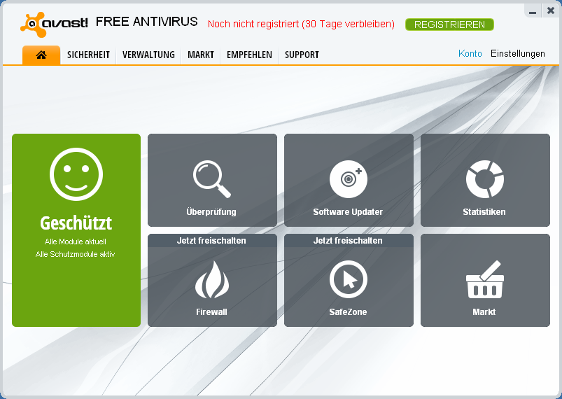 Hauptfenster von avast! Free Antivirus