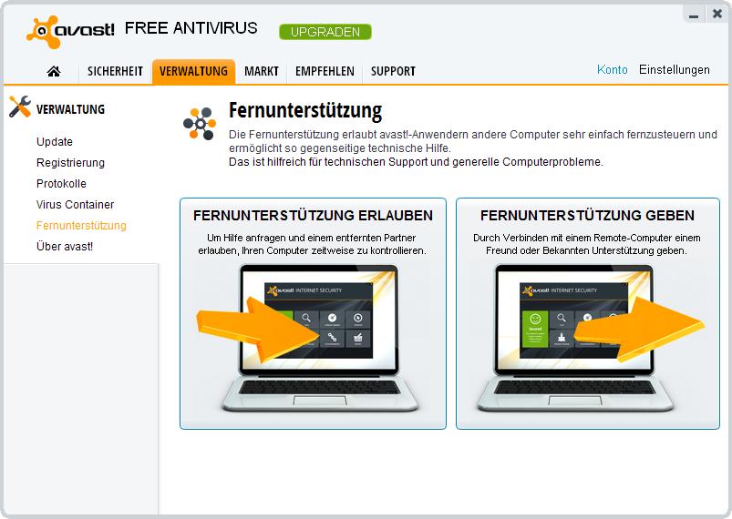 Remote Unterstützung - Teamviewer in Avast! integriert
