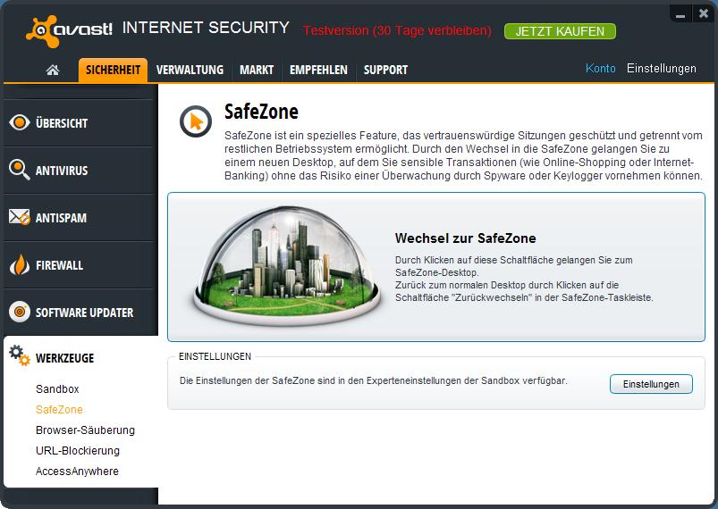 Die avast! Safezone ermöglicht sicheres Online-Banking