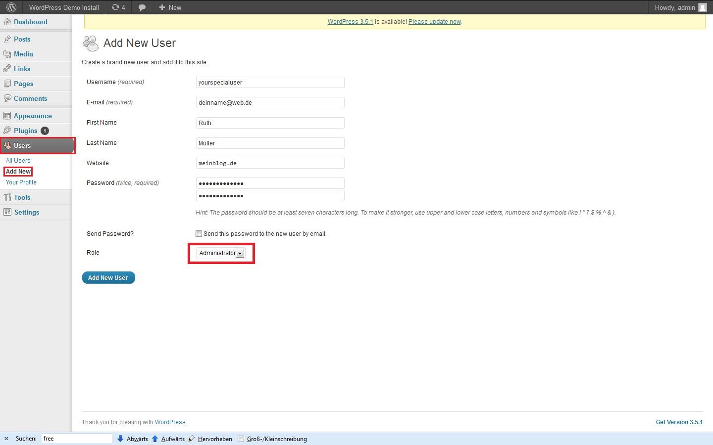 wp-admin-new user