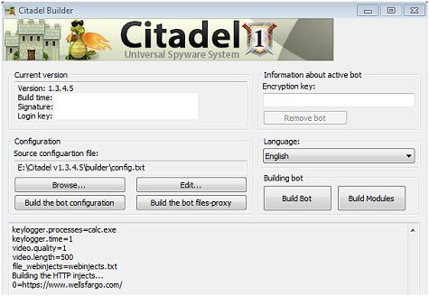 Admin-Oberfläche des Citadel-Builder
