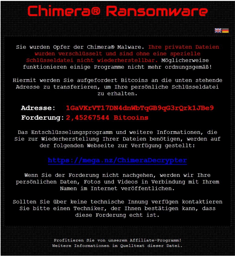 Chimera Ransomware focuses on business computers