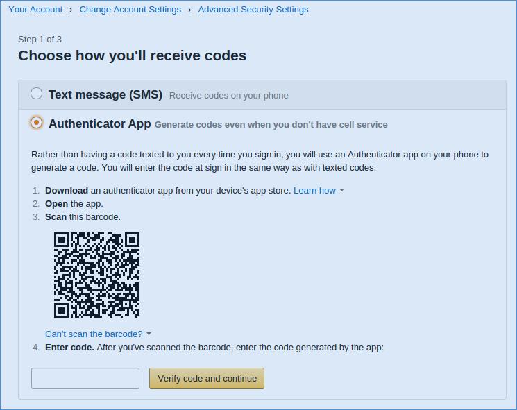 Amazon Authentifizierungs-App
