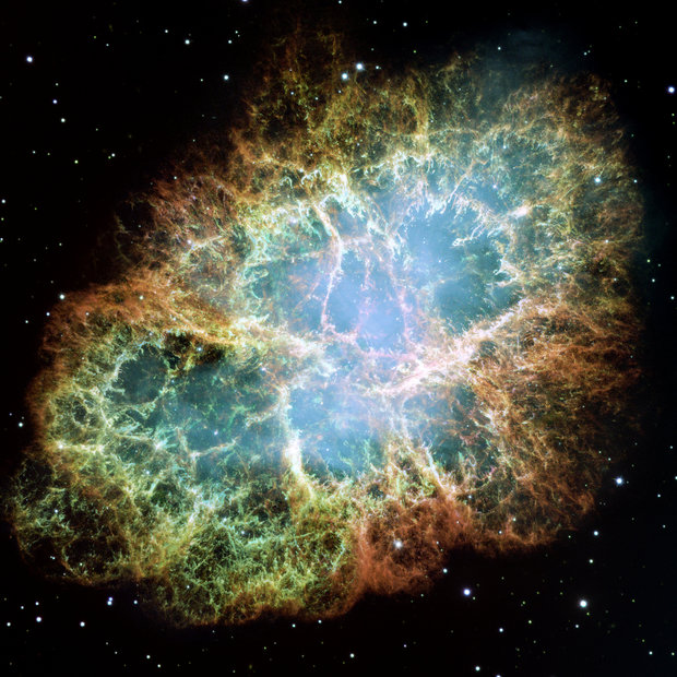 The Crab Nebula is a supernova remnant, all that remains of a tremendous stellar explosion. Observers in China and Japan recorded the supernova nearly 1,000 years ago, in 1054.  Credit: NASA, ESA, J. Hester and A. Loll (Arizona State University)  The Hubble Space Telescope is a project of international cooperation between NASA and the European Space Agency. NASA's Goddard Space Flight Center manages the telescope. The Space Telescope Science Institute conducts Hubble science operations.    Goddard is responsible for HST project management, including mission and science operations, servicing missions, and all associated development activities.