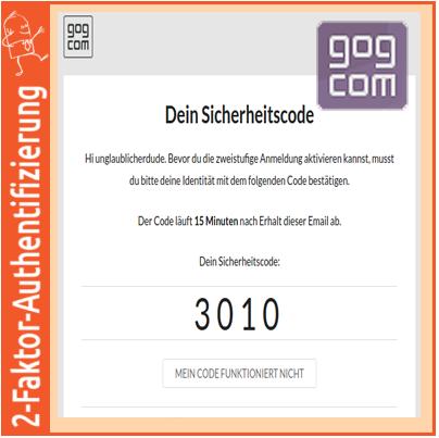 2-Faktor-Authentifizierung: gog.com per E-Mail