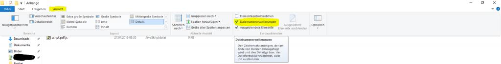 Dateinamenerweiterungen einschalten.