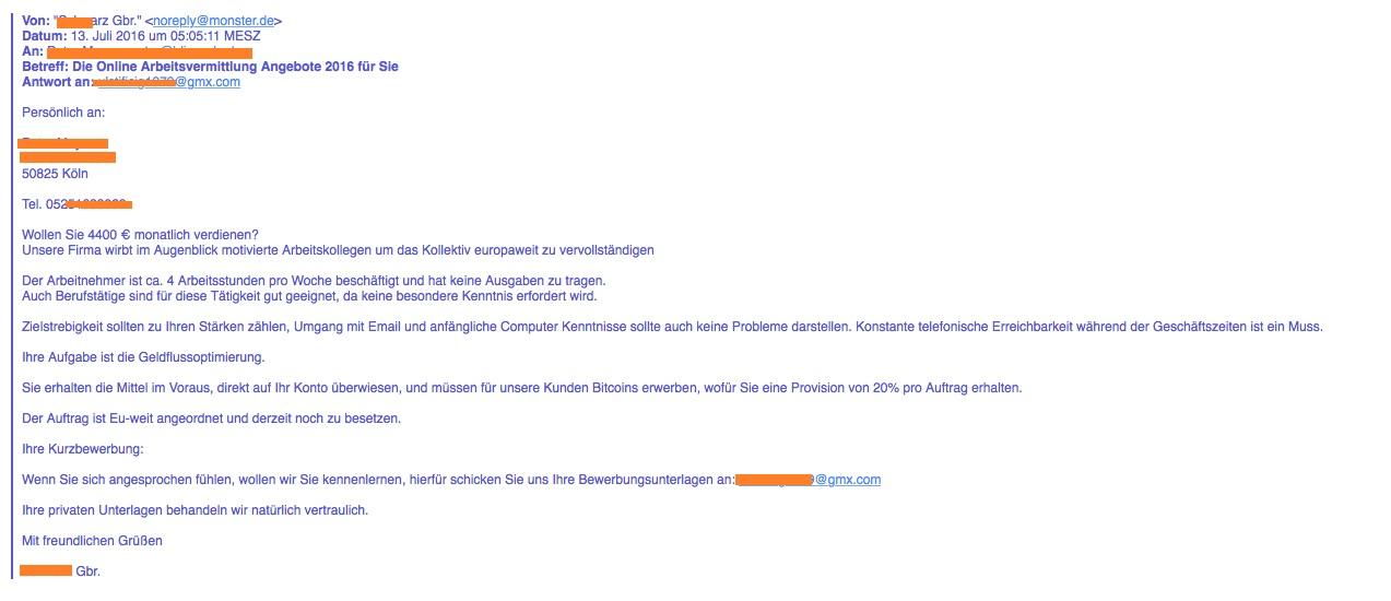 Ein Monster-Job Angebot: Geldflussoptimierung - botfrei Blog