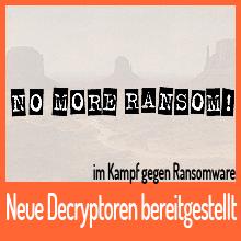 NO MORE RANSOM! mit neuen Entschlüsselungs-Tools