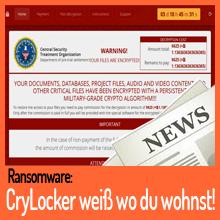 Ransomware CryLocker ruft physische Standortdaten ab