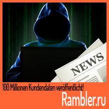 100 Millionen Kundendaten von Rambler.ru veröffentlicht
