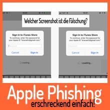 Achtung! Schwer erkennbarer Phishing-Angriff kann Ihr Apple Passwort stehlen